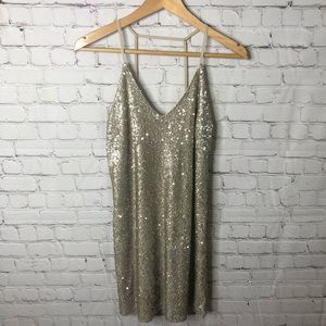 Dainty Hooligan Gold Sequin Dress